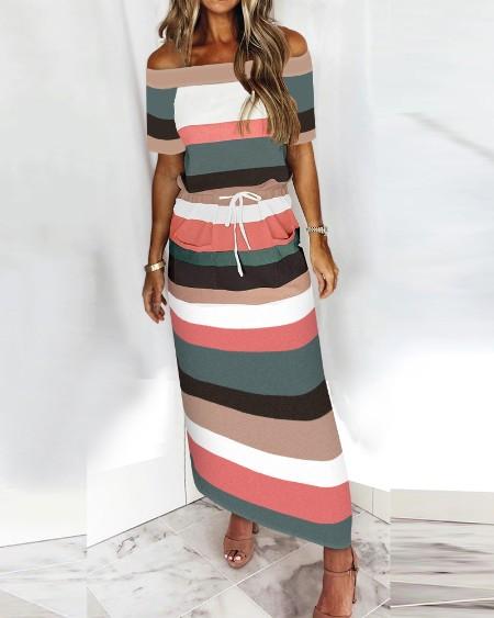Off Shoulder Stripe Print Drawstring Casual Dress