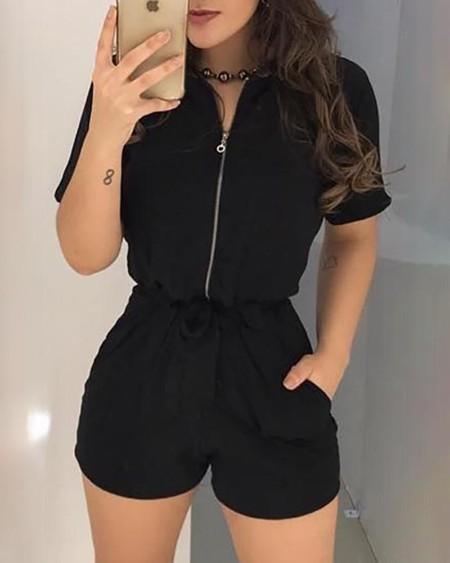 Short Sleeve Zipper Design Romper