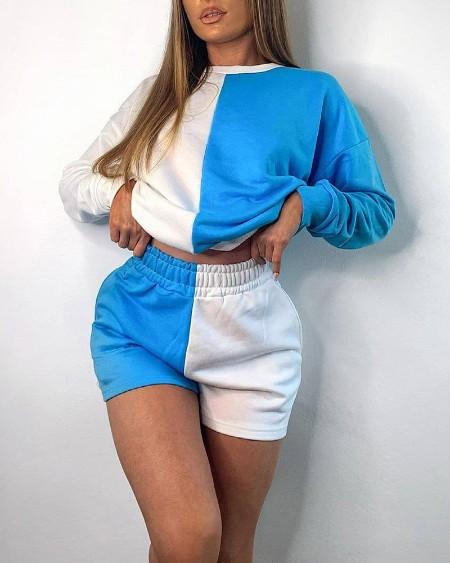 Color Block Long Sleeve Sweatshirt With Short Pants Suit Sets