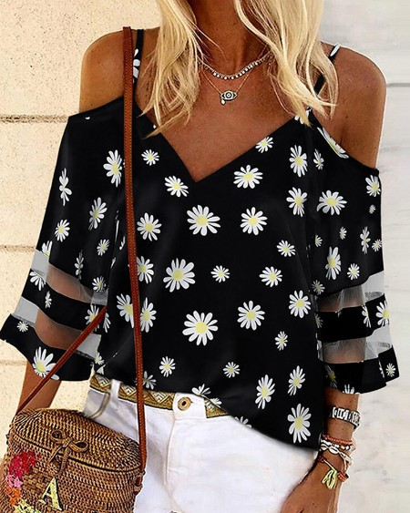 Daisy / Cheetah / Leaf Print Cold Shoulder Sheer Mesh Top