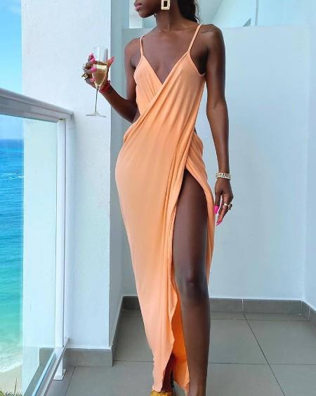 Spaghetti Strap Cross High Slit Party Dress