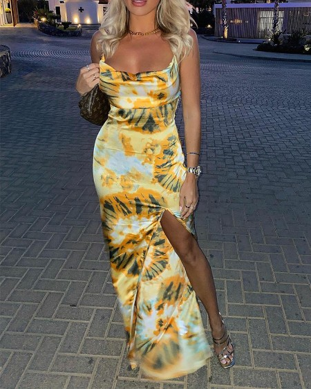 All Over Print Split Thigh Cami Maxi Dress