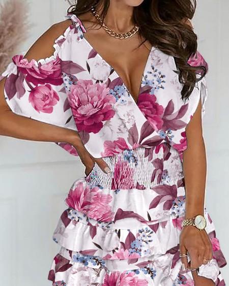 All Over Floral Print Knot Cold Shoulder Shirred Waist Layered Dress
