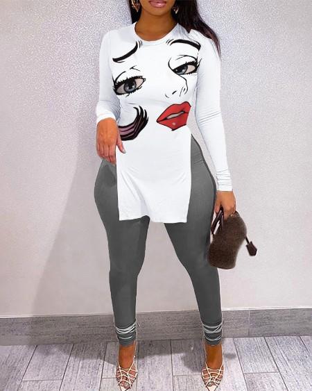 Figure Print Split Hem Long Sleeve Top & High Waist Pants Set