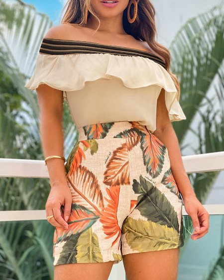 Ruffle Hem Off Shoulder Top & Leaf Print Shorts Set