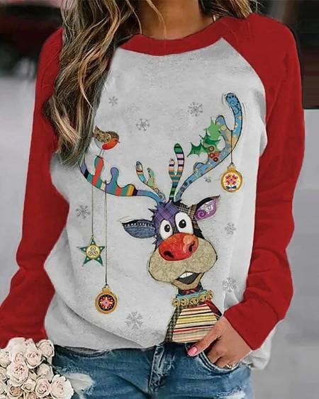 Christmas Animal Print Long Sleeve Top