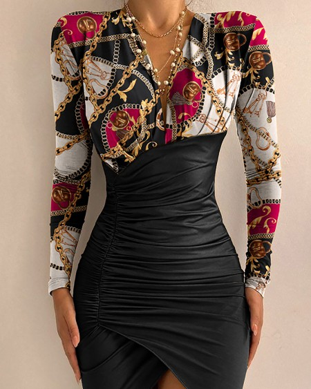 Chain Scarf Print Ruched Bodycon Dress