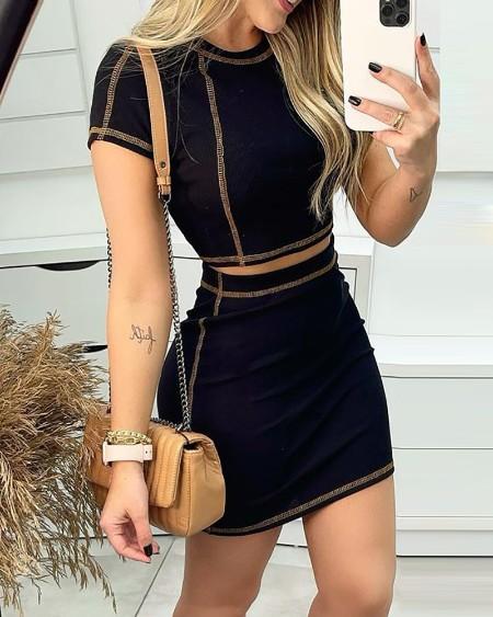 Contrast Piping Short Sleeve Crop Top & Skirt Set
