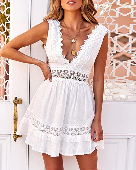 Guipure Lace Patch Backless Casual Dress