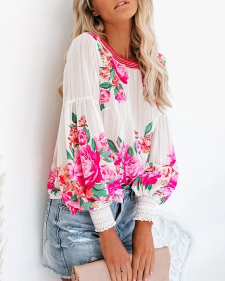 Floral Print Lantern Sleeve Ruched Top