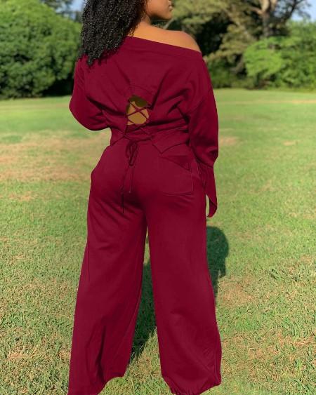 Lace-Up Back Long Sleeve Top & Drawstring Pocket Wide Leg Pants Set
