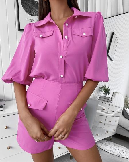 Button Design Lantern Sleeve Top & Shorts Set