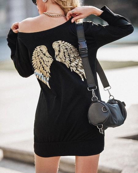 Wings Pattern Sequins Long Sleeve Top