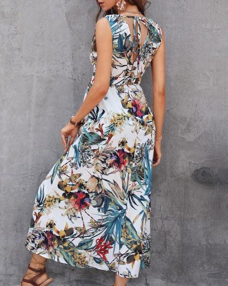 Tropical Print Tied Detail Sleeveless Maxi Dress