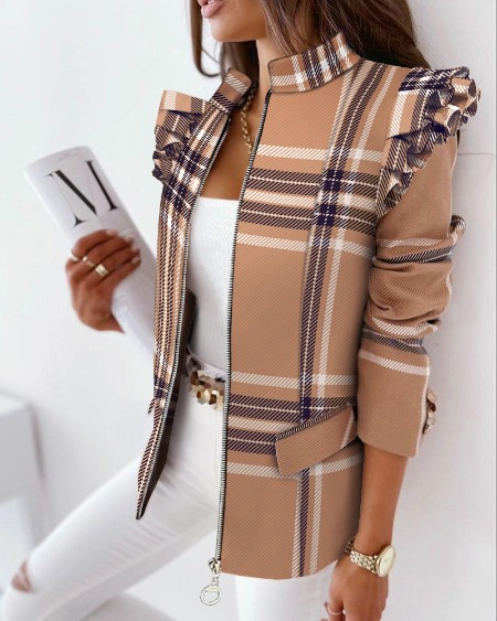 Plaid Print Ruffles Long Sleeve Zipper Up Coat Elegant Work Blazer Coat