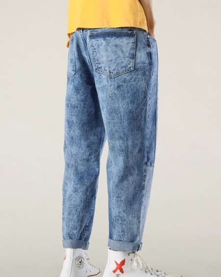 Solid Color Patchwork Straight Baggy Jean Pants