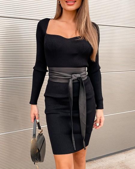 V Neck Long Sleeve Knit Bodycon Dress