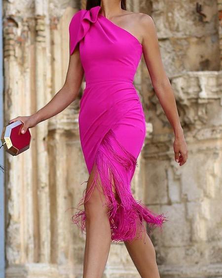Solid One Shoulder Split Tassel Bodycon Dress