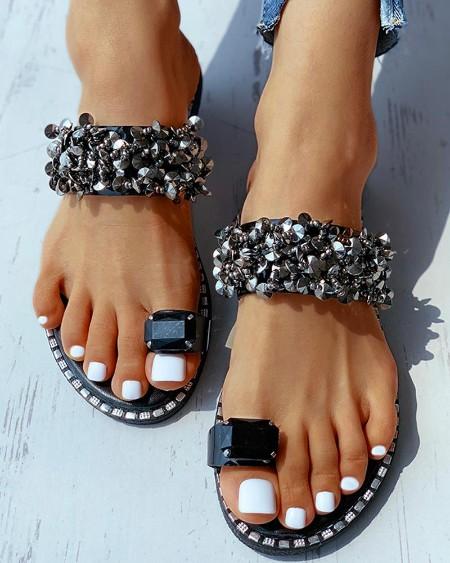 Rhinestone Toe Ring Flat Slippers