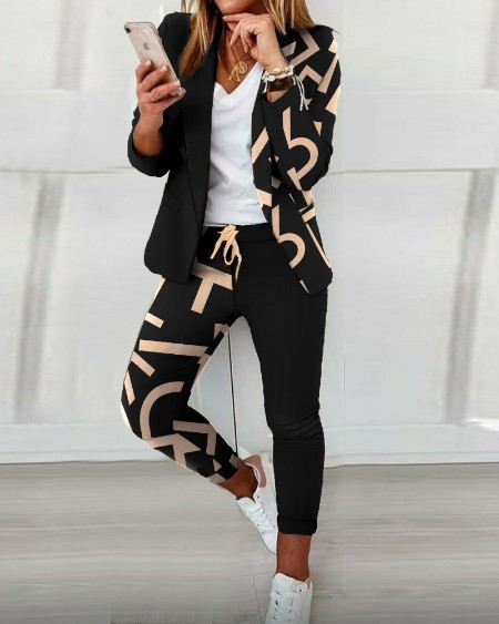 Colorblock Letter Print Blazer Coat & Drawstring Pants Set