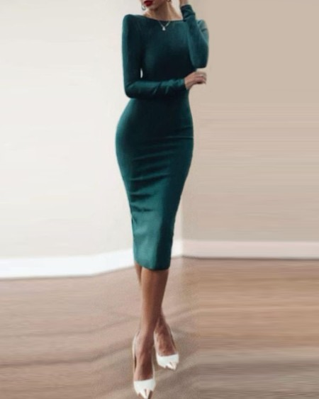 Zip Back Long Sleeve Skinny Midi Dress