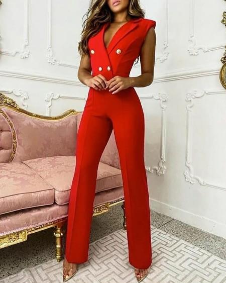 Plain Double Breasted Sleeveless Blazer Jumpsuit Elegant Work Jumpsuit