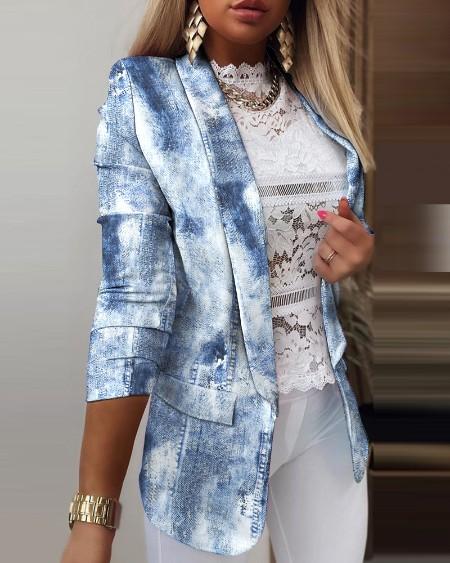 Denim Print Half Sleeve Suit Coat