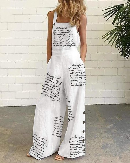 Letter Print Pocket Design Suspender Jumpsuit Casual Sleeveless Wide Leg Jumpsuit