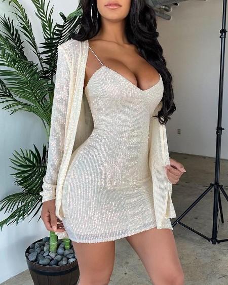 Sequins Bodycon Dress & Cardigan Set