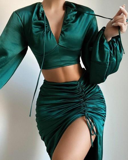 Solid V-Neck Crop Top & Drawstring Ruched Split Thigh Skirt Set