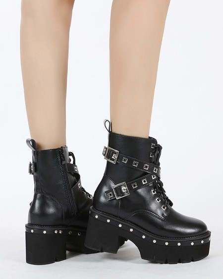 Womens Cross Strap Decor Round Toe Wax Finish Platform Martin Boots