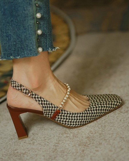 Square-toe Houndstooth Print Splicing Chain High Heels