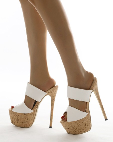 Round-toe Solid Color Open-toe Stiletto Heels
