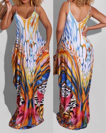 Colorblock Pocket Design Maxi Dress