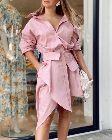 Buttoned Asymmetrical Shirt & Midi Skirt Set