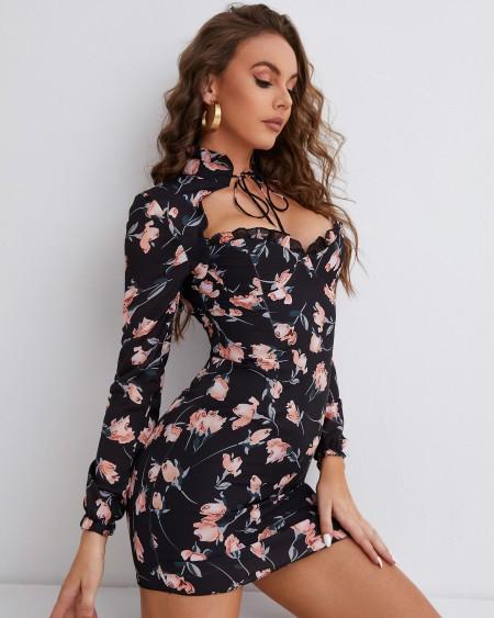 Tied Neck Floral Print Frill Hem Dress