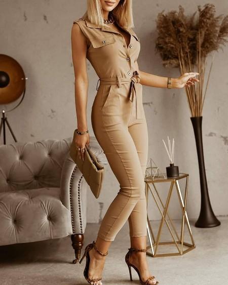 Button Front Pocket Design Sleeveless Jumpsuit With Belt