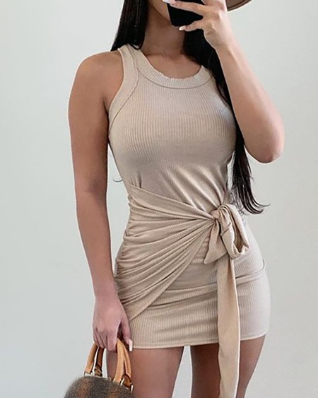 U Neck Ribbed Sleeveless Knotted Design Plain Tank Dress