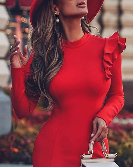 Long Sleeve O Neck Layered Ruffles Bodycon Dress