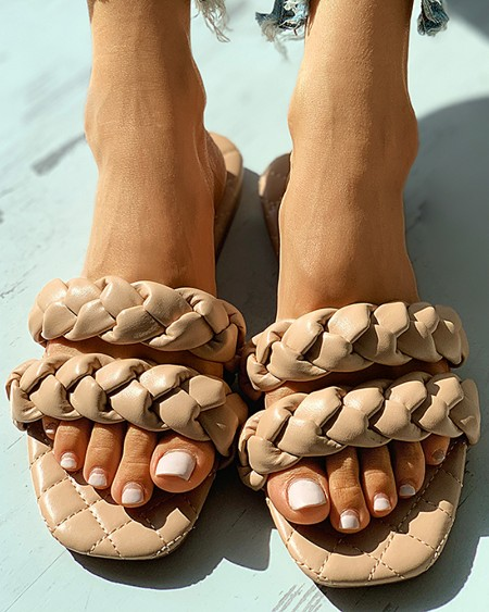 Quilted Square Toe Braided Flat Sandals