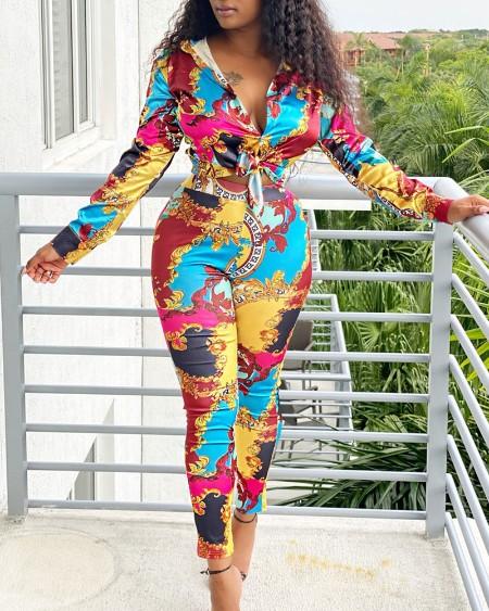 Scarf Print Long Sleeve Shirt & High Waist Pants Set