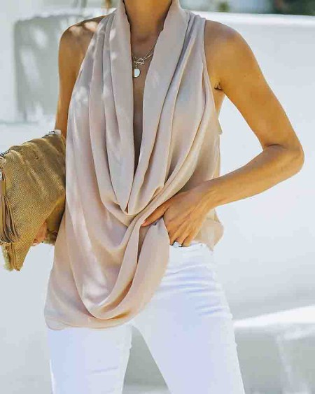 Solid Waterfall Collar Sleeveless Cut-out Tanks