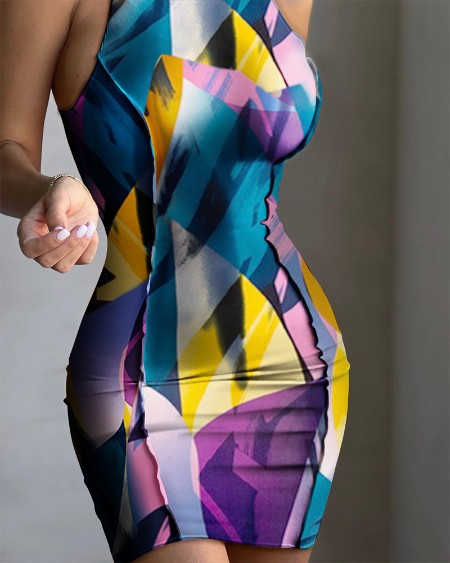 Ribbed Sleeveless Multi-color Print  Bodycon Dress