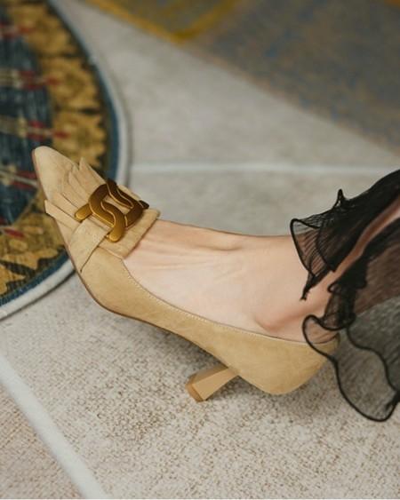 Pointed-toe Suede Leather Splicing Tassel High Heels