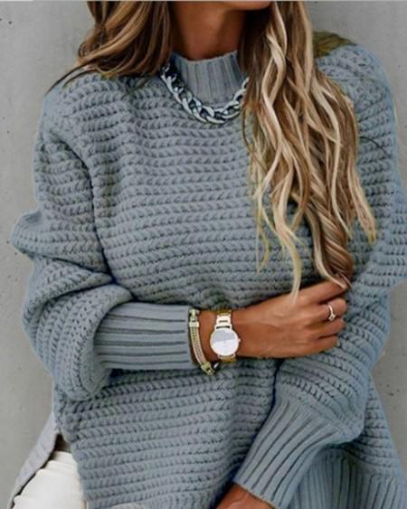 Long Sleeve Mock Neck Split Hem Sweater
