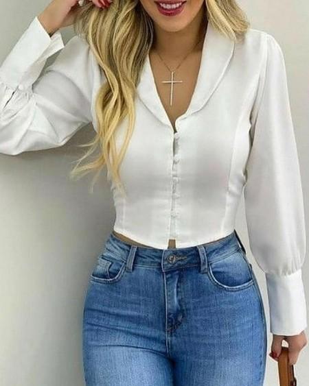 Long Sleeve Button Decor Skinny Satin Top