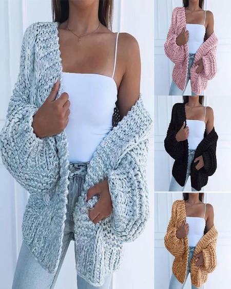 Braided Knit Lantern Sleeve Casual Cardigan
