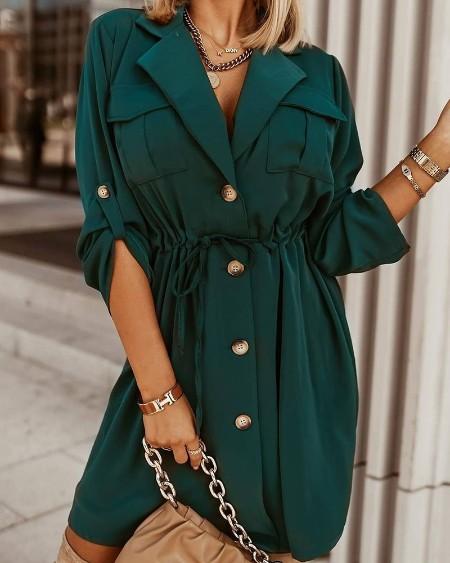 Pocket Design Long Sleeve Buttoned Shirt Dress