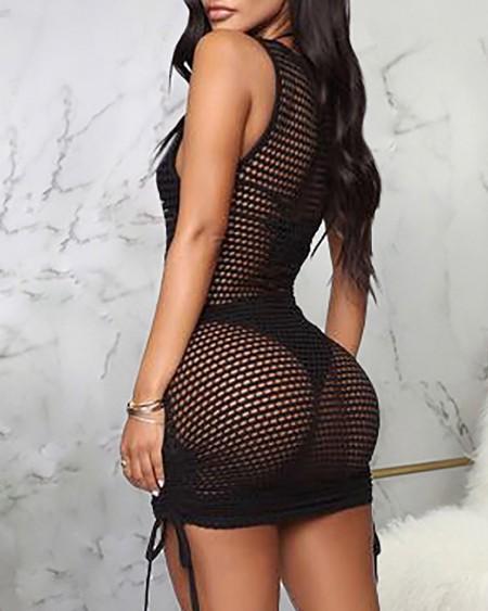 Plain Thick Strap Drawstring Hollow Out Dress