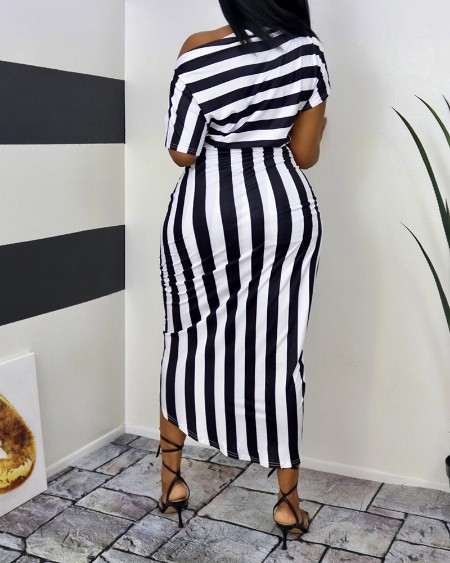 Striped Print One Shoulder Wrap Midi Dress